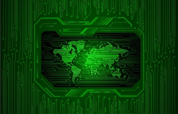 Tecnología futura de la placa de circuito binario, fondo de seguridad cibernética del mundo verde hud,