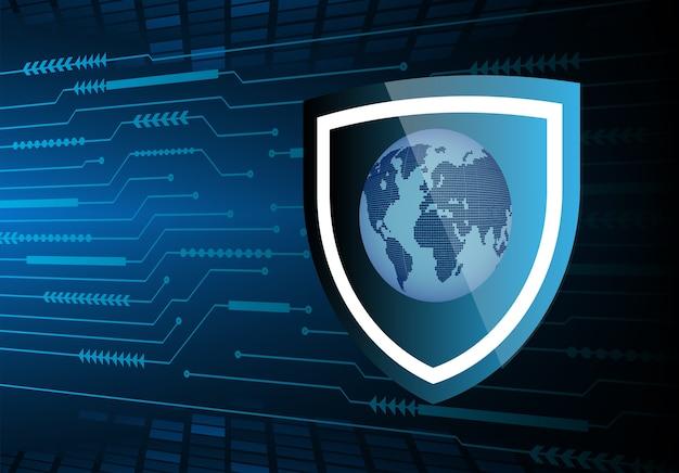 Tecnología futura de la placa de circuito binario mundial, fondo azul del concepto de seguridad cibernética de hud