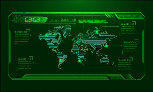 Tecnología futura de la placa de circuito binario mundial, fondo azul de seguridad cibernética de hud,