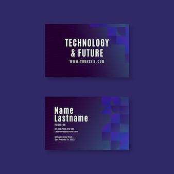 Tecnología y futura plantilla de tarjeta de visita horizontal.