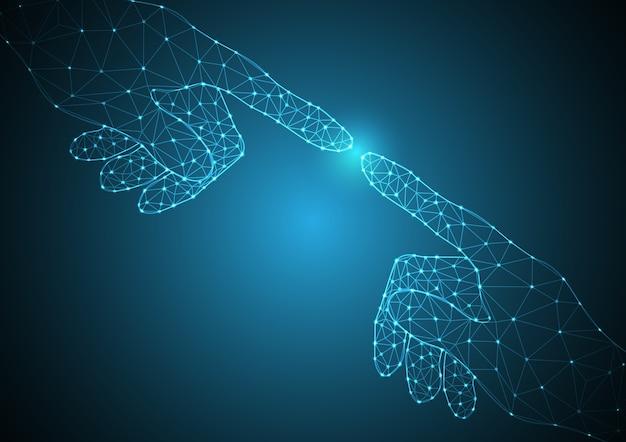 Tecnología futura polígono mano punto toque juntos