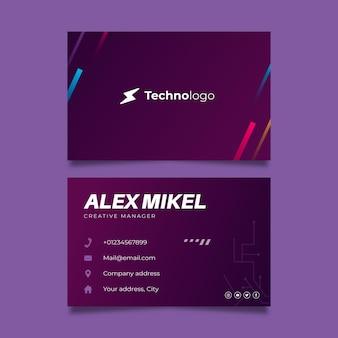 Tecnología y futura tarjeta de visita de doble cara.