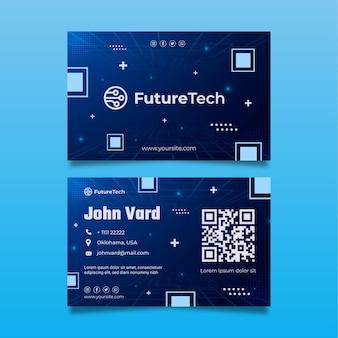 Tecnología y futura tarjeta de visita a doble cara.