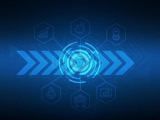 Tecnología futurista abstracta con ilustración de fondo de iconos de negocios