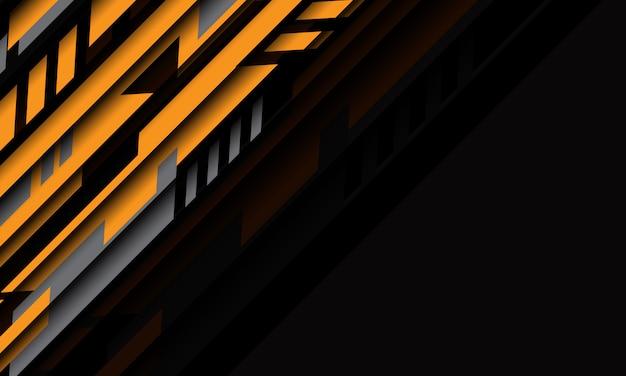 Tecnología futurista cibernética geométrica gris amarillo abstracto con fondo moderno de diseño de espacio en blanco.