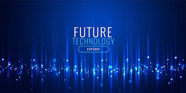 Tecnología futurista diseño de banner de partículas.
