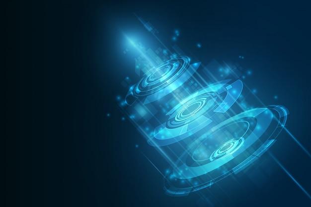 Tecnología de futuro abstracto, fondo eléctrico de telecomunicaciones.