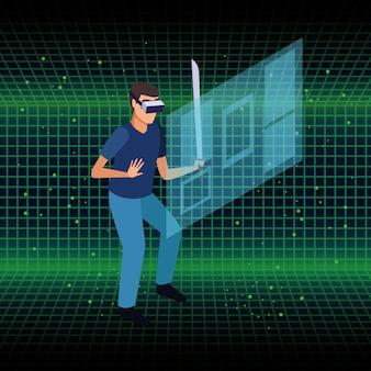 Tecnología de gafas de realidad virtual y personas.