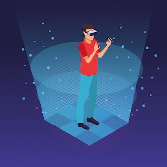 Tecnología de gafas de realidad virtual.