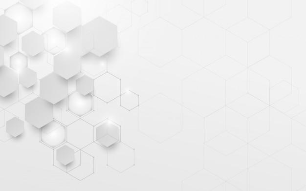 Tecnología geométrica abstracta blanca y gris tecnología digital de alta tecnología.