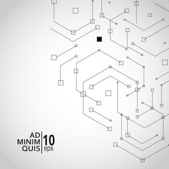 Tecnología de hexágonos y conexión científica y química con puntos y líneas geométricas.