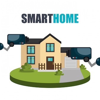 Tecnología de hogar inteligente con cámara de cctv