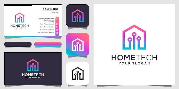 Tecnología hogareña abstracta con logotipo de estilo de arte lineal y tarjeta de visita