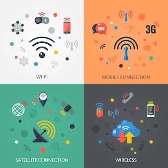 Tecnología inalámbrica 4 flat icons square
