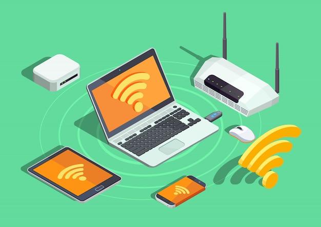 Tecnología inalámbrica dispositivos electrónicos cartel isométrico