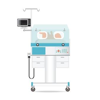 Tecnología de incubadora infantil con bebé recién nacido.