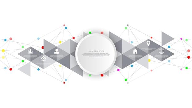 Tecnología de la información con elementos infográficos e iconos planos. fondo abstracto con puntos y líneas de conexión. conexión de red global, tecnología digital y concepto de comunicación.