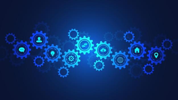 Tecnología de la información con elementos infográficos e iconos planos. mecanismos de engranajes y piñones. tecnología e ingeniería digital de alta tecnología. fondo técnico abstracto.