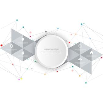 Tecnología de la información con elementos infográficos e iconos planos