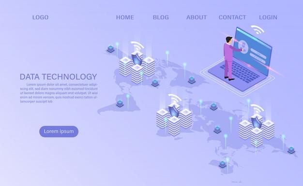 Tecnología informática en línea. procesamiento de gran flujo de datos, servidores 3d y centro de datos. plano isométrico.