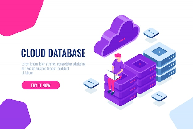 Tecnología informática en la nube, almacenamiento y procesamiento de datos grandes, sala de servidores, base de datos y centro de datos