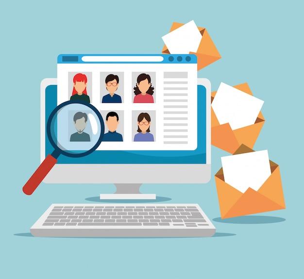 Tecnología informática en el sitio web con mensajes y lupa