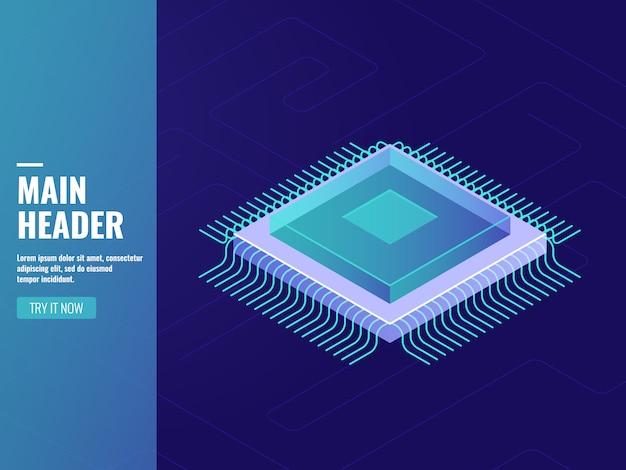 Tecnología informática, unidad de procesador informático, cpu, procesamiento de datos, sala de servidores