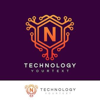Tecnología inicial letra n diseño de logotipos