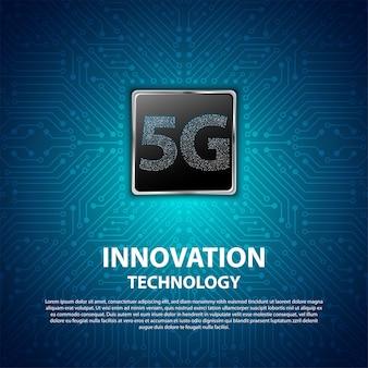 La tecnología de innovación 5g con placa de circuito es de fondo
