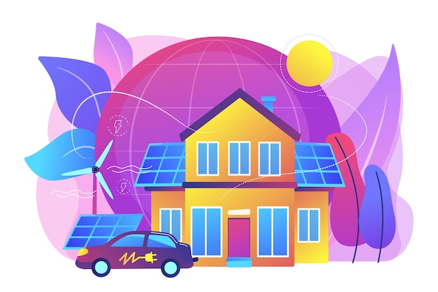 Tecnología inteligente del futuro. energía eléctrica alternativa, energía amigable con la ecología. casa ecológica, hogar de bajo impacto ambiental, concepto de tecnología de hogar ecológico. ilustración aislada violeta vibrante brillante