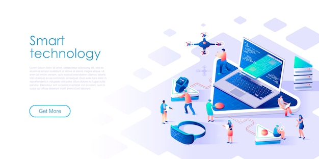 Tecnología inteligente de página de aterrizaje isométrica o concepto plano de red