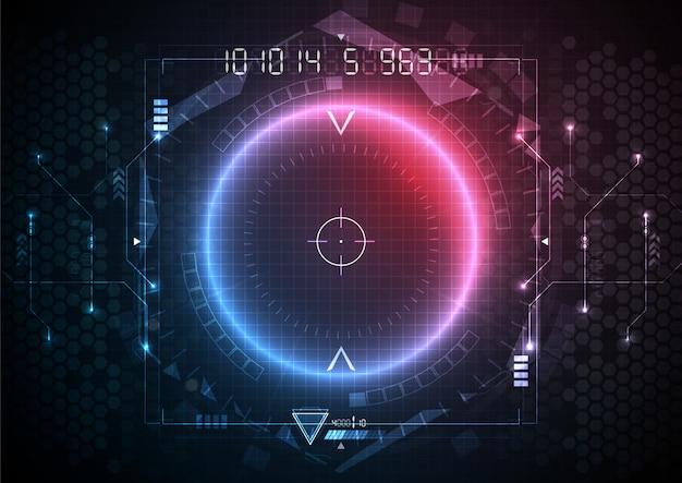 Tecnología de interfaz de circuito futurista de luz roja azul