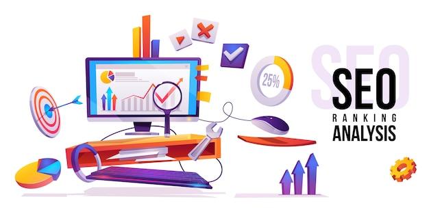 Tecnología de internet de análisis de ranking seo