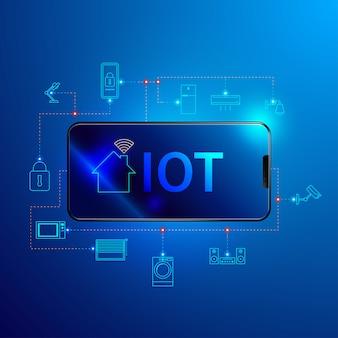 Tecnología de internet de las cosas, concepto de casa inteligente.