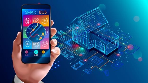 Tecnología iot en automatización de viviendas, hogar inteligente.