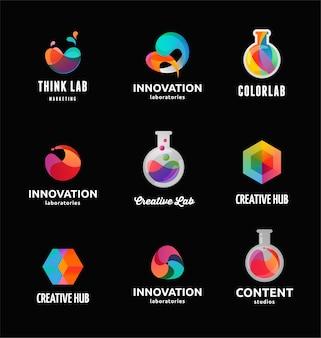 Tecnología, laboratorio, creatividad, innovación y ciencia, iconos y elementos abstractos