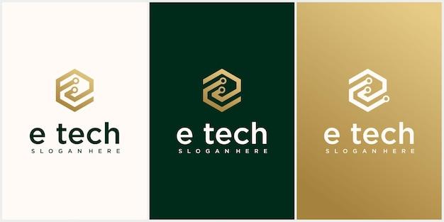 Tecnología letra e logo letra e logo diseño plantilla tecnología logo icono