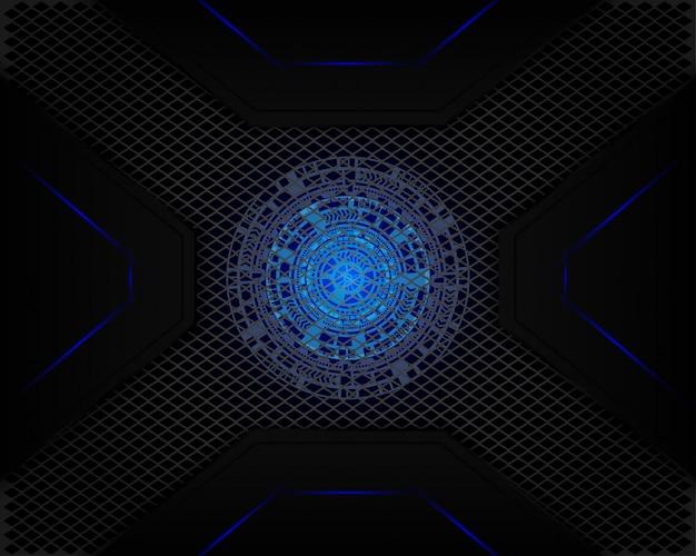 Tecnología de luz azul en malla sombra gris oscuro como fondo