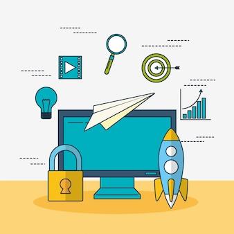Tecnología de marketing digital con escritorio.