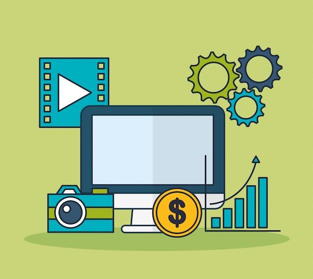 Tecnología de marketing digital con ilustración de escritorio
