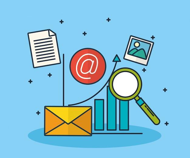 Tecnología de marketing digital con sobre.