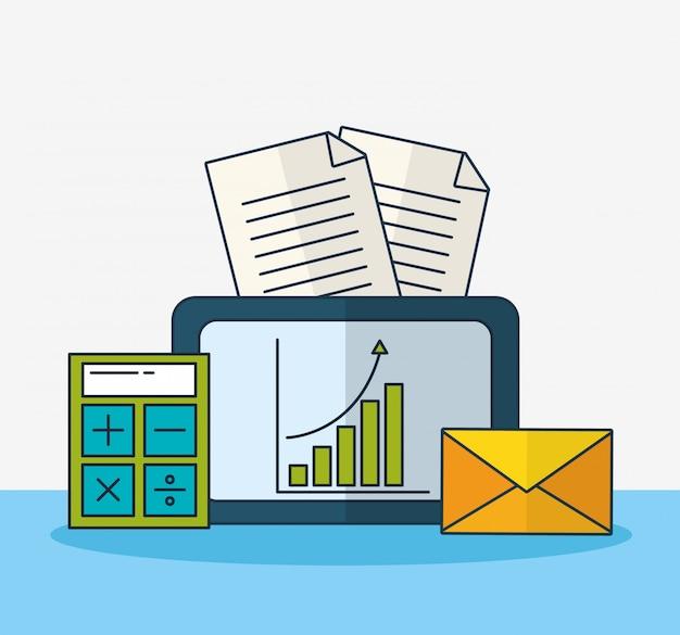 Tecnología de marketing digital con tableta.