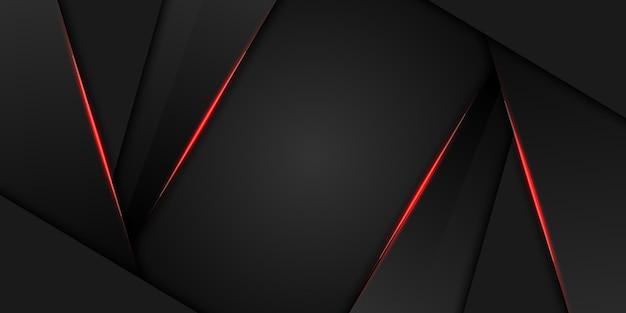Tecnología moderna abstracta del diseño negro rojo metálico del marco