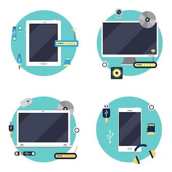 Tecnología moderna: computadora portátil, computadora, tableta y teléfono inteligente. conjunto de elementos. ilustración vectorial