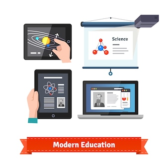 La tecnología moderna en la educación plana icono conjunto