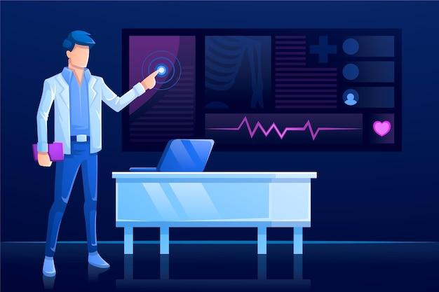 Tecnología moderna y hablar en línea con el médico.