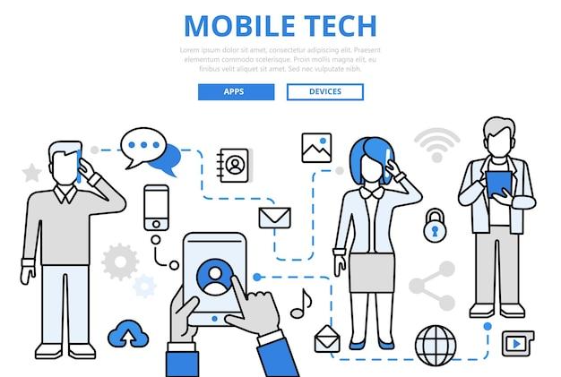 Tecnología móvil comunicación tecnología de la época medios sociales compartir concepto iconos de arte de línea plana.