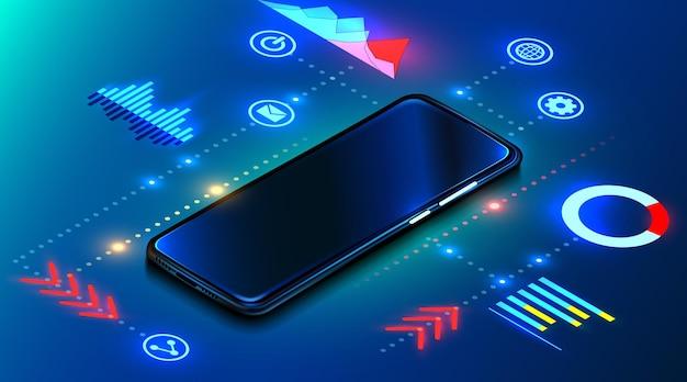 Tecnología móvil digital. dispositivo con elementos infográficos de análisis de información móvil.