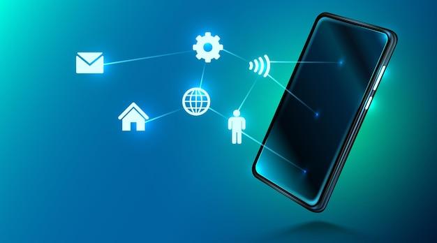 Tecnología móvil digital. pantalla del dispositivo e iconos de internet