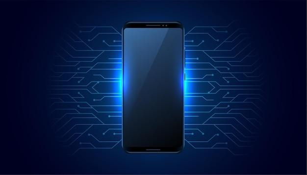 Tecnología móvil futurista con líneas de circuito.